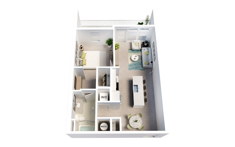 Taylor - 1 bedroom floorplan layout with 1 bath and 740 square feet.