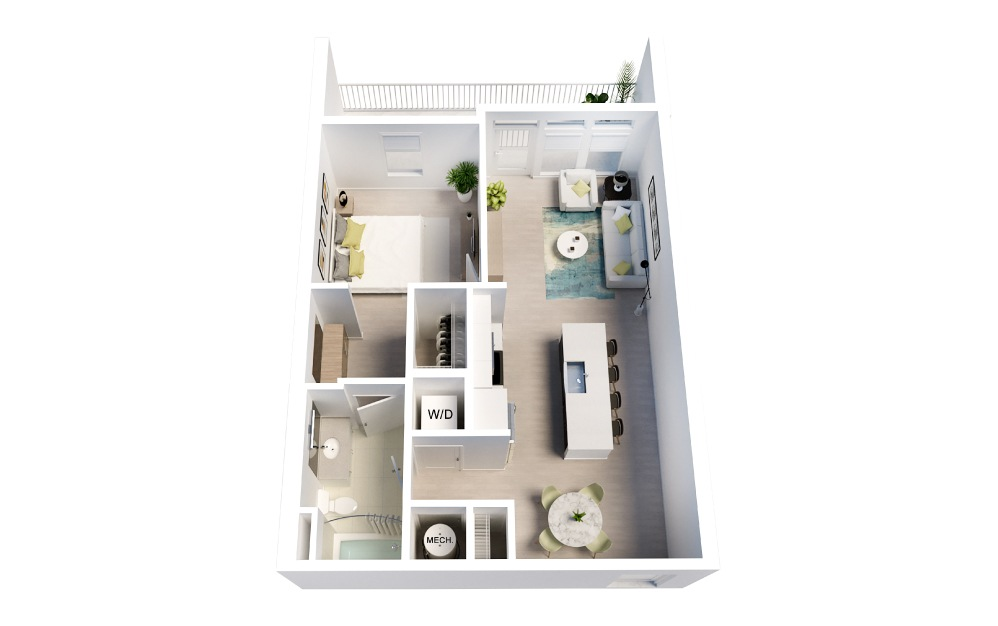 Castaway - 1 bedroom floorplan layout with 1 bath and 739 square feet.