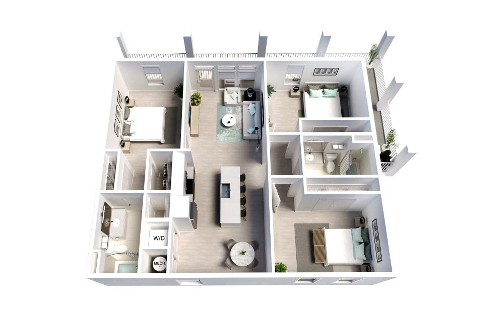 Continental ADA - 3 bedroom floorplan layout with 2 baths and 1319 square feet.