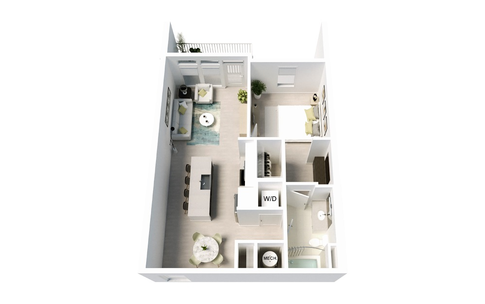 Cosmic - 1 bedroom floorplan layout with 1 bath and 801 square feet.