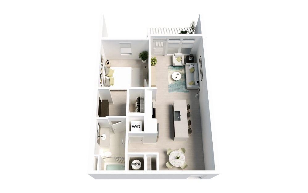 Driftwood - 1 bedroom floorplan layout with 1 bath and 739 square feet.
