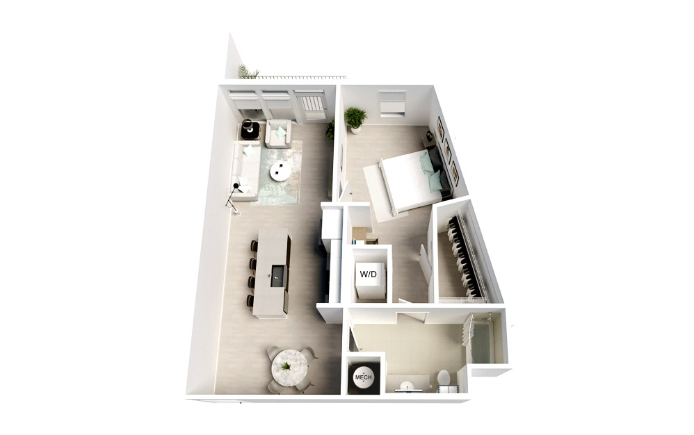 Belafonte - 1 bedroom floorplan layout with 1 bath and 817 square feet.