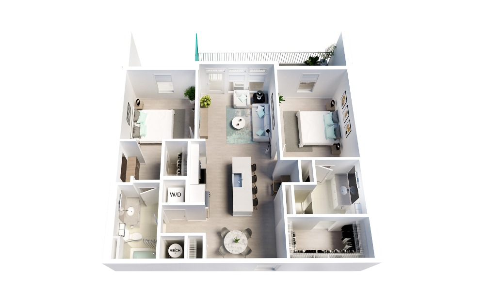 Flamingo - 2 bedroom floorplan layout with 2 baths and 1088 square feet.