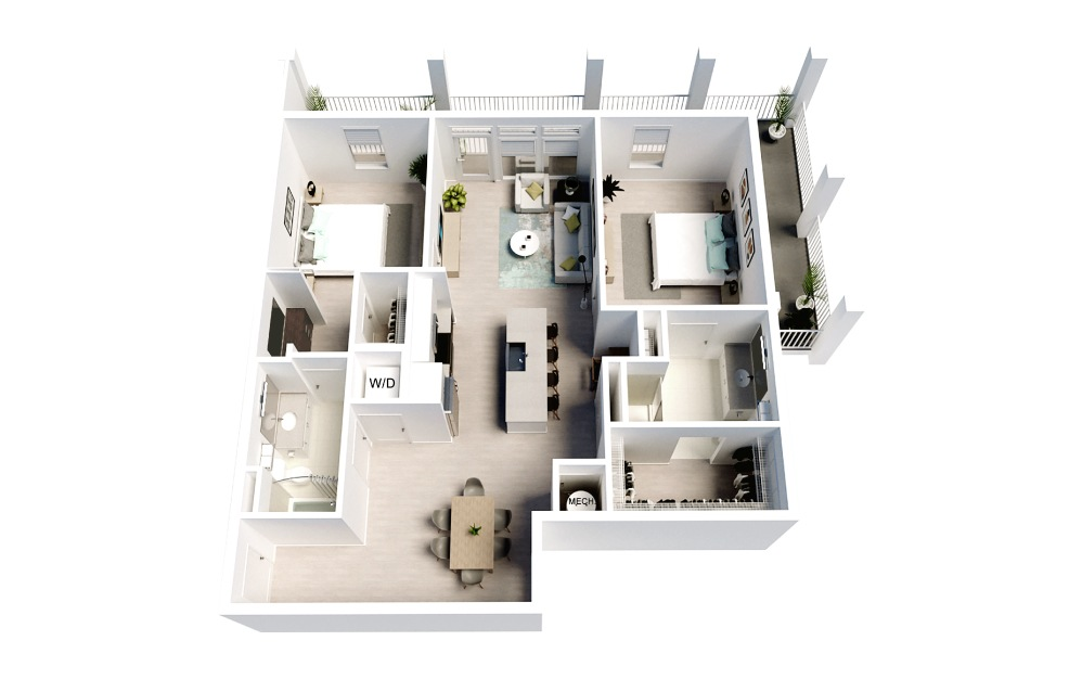 Imperial - 2 bedroom floorplan layout with 2 baths and 1186 square feet.