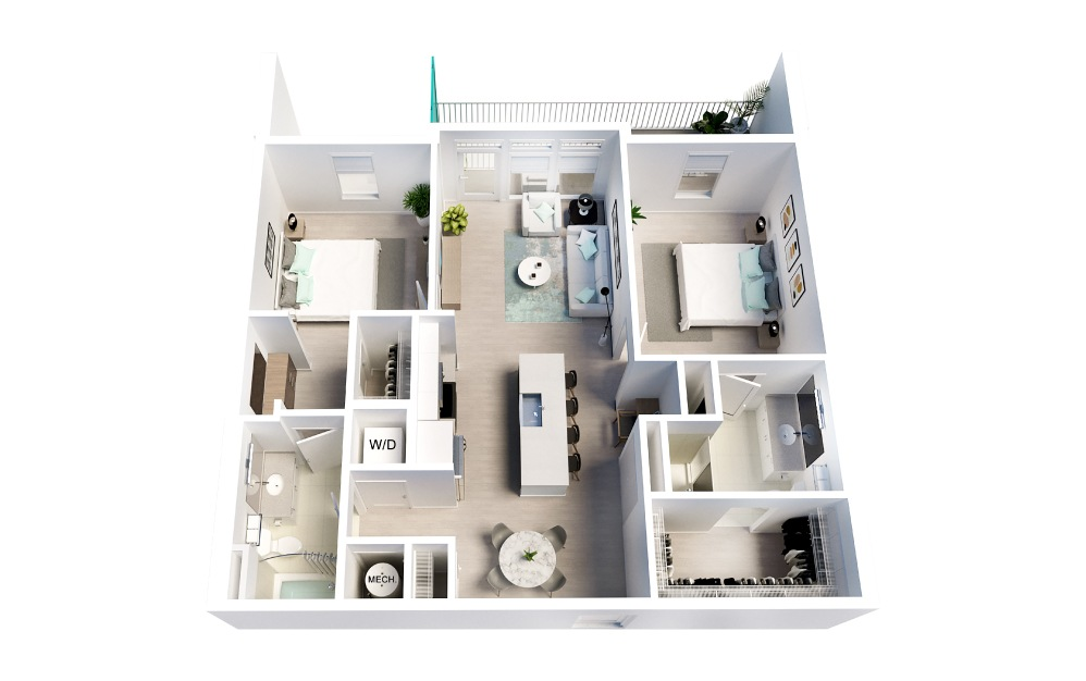Seaside - 2 bedroom floorplan layout with 2 baths and 1093 square feet.