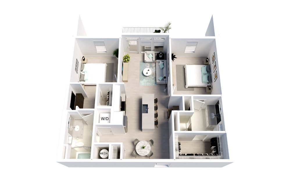 Stardust - 2 bedroom floorplan layout with 2 baths and 1088 square feet.