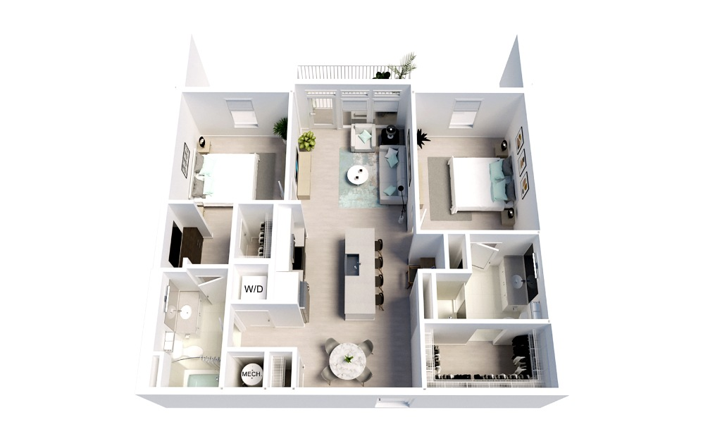 Starlight - 2 bedroom floorplan layout with 2 baths and 1093 square feet.