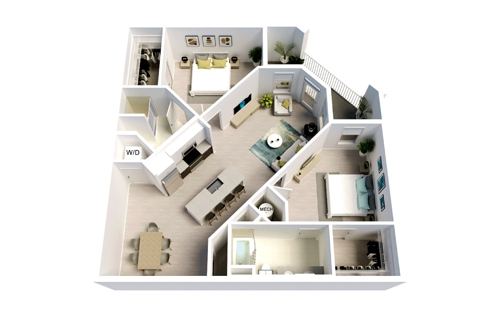 Davis - 2 bedroom floorplan layout with 2 baths and 1177 square feet.